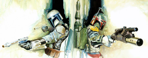 Jango and Boba Fett, bounty hunters