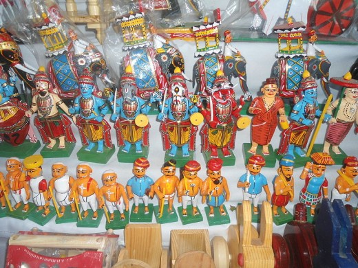 Toys on display at exhibition centre in Shilparamam in Hyderabad