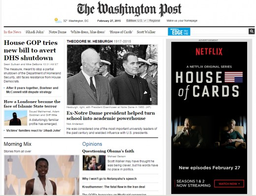 The 300x600 pixel display ad on the right for Netflix is an example of online display advertising. Notice the three dominant elements -- the Netflix name, the show's name and the photos of the stars.