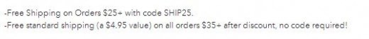 A screen shot of the free shipping deals they have going on currently.