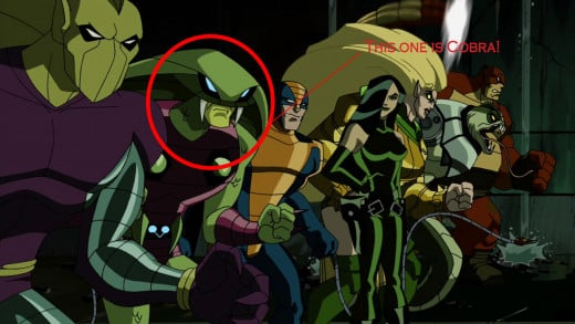 """It was discovered the Cobra, one of the members of the Serpent Society, had been replaced by a Skrull."""