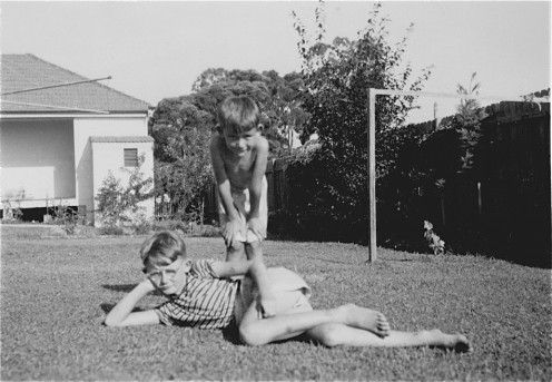 My bro and I in the backyard.... little knowing of the Motorway to come....