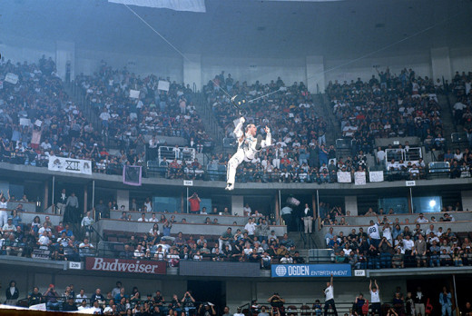 HBK zip lines into Wrestlemania 12