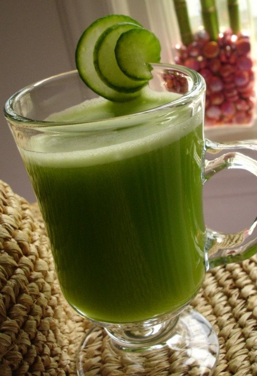 Cucumber, celery and apple juice