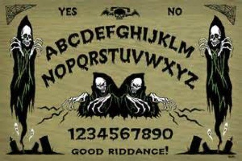 The Ouija Board comes in many sizes, shapes and styles. Originally the board was made of wood and the Planchette was made of wood as well.