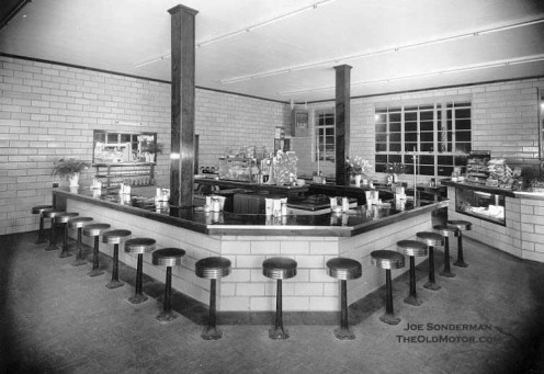 The dining counter in an early truck stop