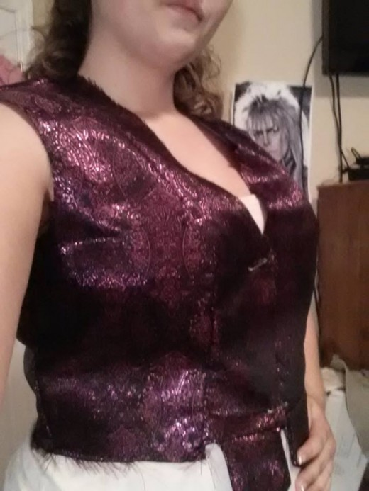 Trying on the bodice.