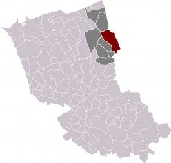 Map location of Hondschoote, Dunkirk 'arrondissement'.