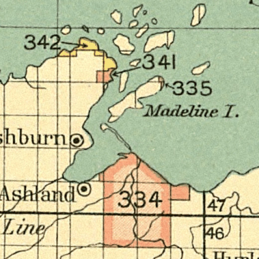 1899 map of Chippewa reservations, Red Cliff is shown as #342