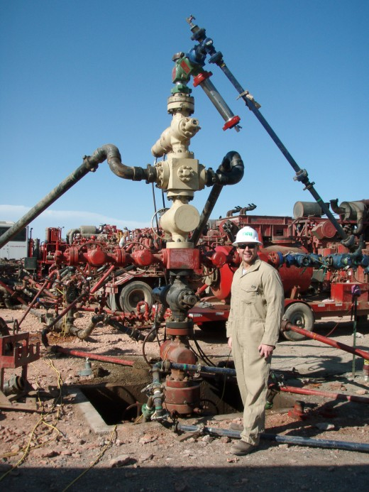 Fracking well head where fluids are injected into the ground.  A necessary part of the process, anti-fracking groups argue that the chemical cocktail, which contains acids, detergents and poisons may seep into drinking water.