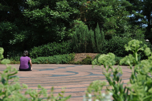 Meditative labyrinths can be found both indoors and outdoors.