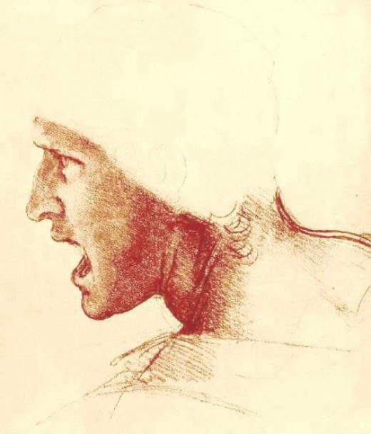 A master work by Leonardo da vinci. A face with a strong expression. The art of suggestion.