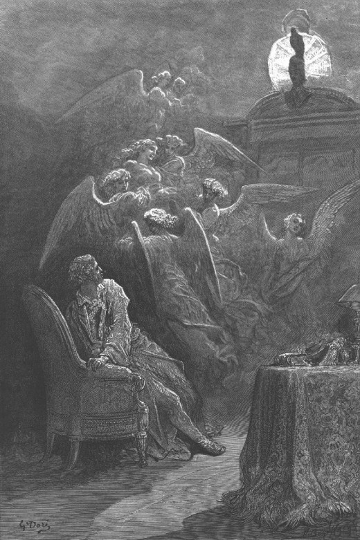 "Gustave Dore's illustration from ""The Raven"""