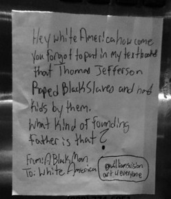 Question to 'White America' Via Post-it Note in Train Station