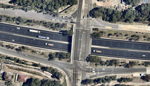 Aerial view. Home was the centre of the Motorway, left of middle of bridge.... A picture is worth a thousand words....