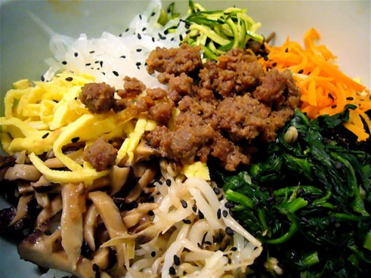 The color and texture variations add to the taste of beef, fermented vegetables and sauces. Bibimbap is a great dish, easily made at home. from simple ingredients