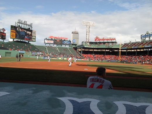 Front row at Fenway Park.