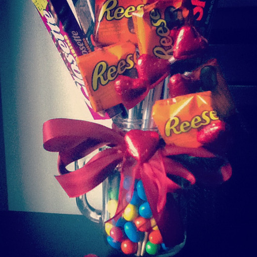 A homemade candy bouquet is a cute, easy to make Valentine's Day Gift for the one you love!