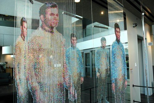 Star Trek, sculpture by Devorah Sperber, Spock, Kirk and McCoy: Beaming-In (In-Between), Microsoft, Studio D, Redmond, Washington, USA