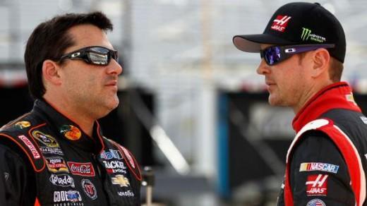 Team co-owner Tony Stewart and Kurt Busch