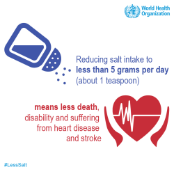The World Heart (WHD) day promotes reduction of salt to control Cardiovascular disease.  They recommend less than 5 grams per day (about one teaspoon.)  The average person currently consumes about 10 grams per day.