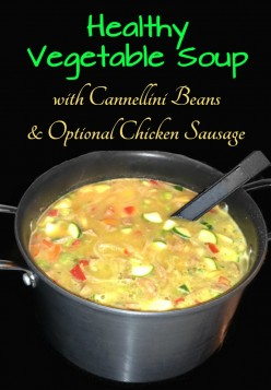Healthy Vegetable Soup with Cannellini Beans for Omnivores, Vegetarians or Vegans