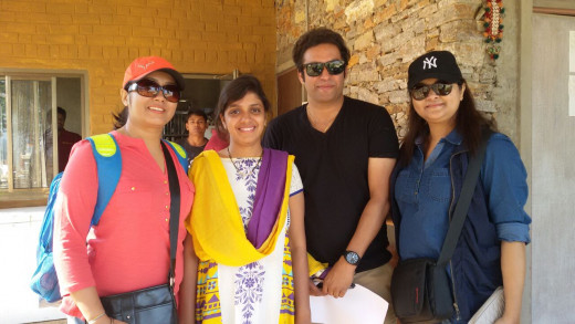 From left to right - Me, Sweety and Ayush ( the owner of the resort) and Dipti - clicked by Jayanti