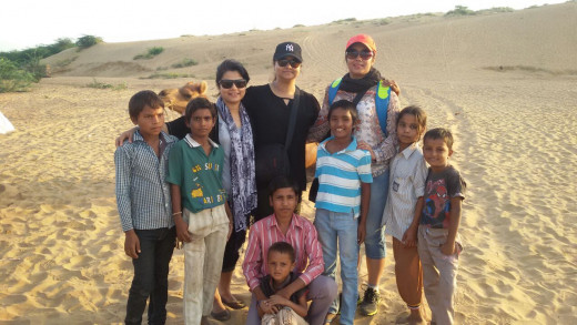Jayanti, Dipti and Me at the Jodhpur Desert with the group of ever enthusiastic children