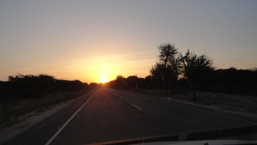 Morning Sun welcoming us - on the way to Jaipur from Jodhpur