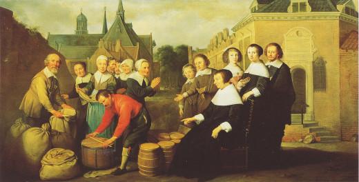 De jaarlijkse voedseluitdeling aan de armen door Maria van Pallaes. In de achtergrond de Kameren Maria van Pallaes op de hoek Nieuwegracht/Agnietenstraat the Utrecht. Geschilderd door Hendrick Bloemaert, olieverf op doek, 1657.