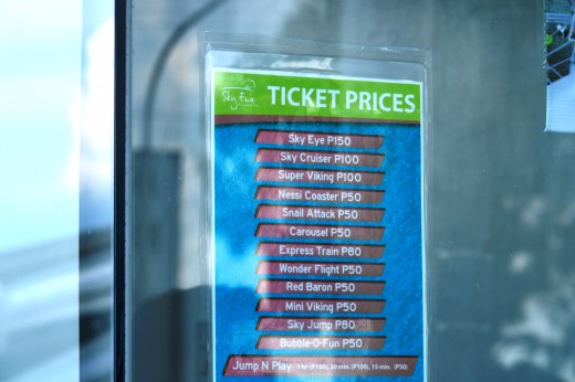 Prices for the rides