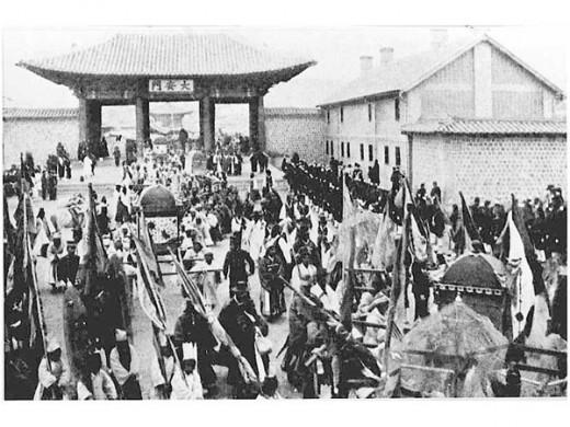 The national funeral march for Empress Myeongseong two years after her assassination in 1895