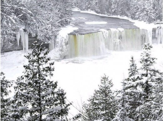 frozen Tahquamenon Falls in Winter