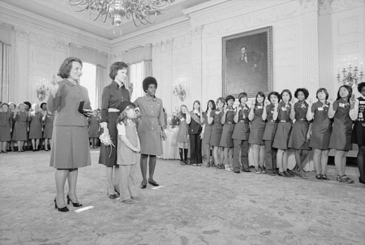 Rosalynn Carter with representatives from the Girl Scouts of America on March 11, 1977.