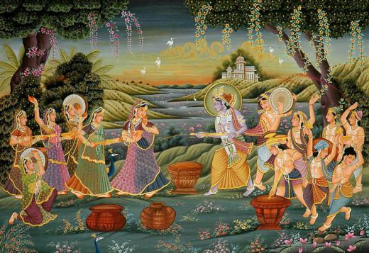 Radha Krishna Vrindavan Holi Celebration