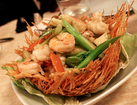 Chinese potato bird nests could be modified to be leak proof containers for many Asian take-away dishes, or serving dishes to replace the paper ones used now,