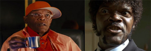 """Jackson - left as Valentine and right as the much more conniving, smooth and menacing Jules in """"Pulp Fiction"""""""
