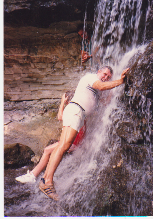 My dad in the waterfall.