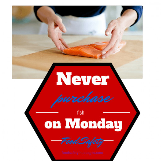 Never buy fish on a Monday food safety poster in colorful stop sign with fish on a cutting board in the background with a chef in a white apron