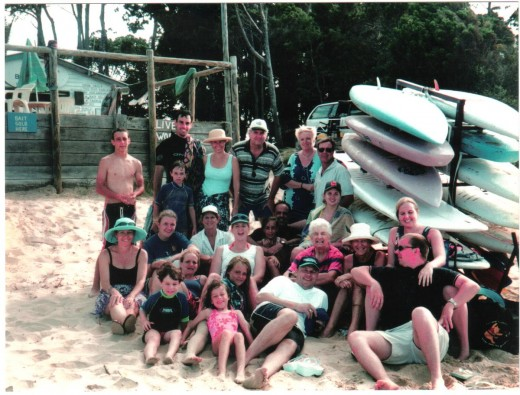 HAD TO SHOW THE PHOTO - MY EXTENDED FAMILY - THERE I AM TOP SECOND FROM RIGHT WITH HUBBY IN THE WHITE CAP