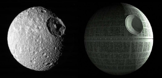 The moon Mimas orbits Saturn and looks suspiciously like the death star... coincidence?