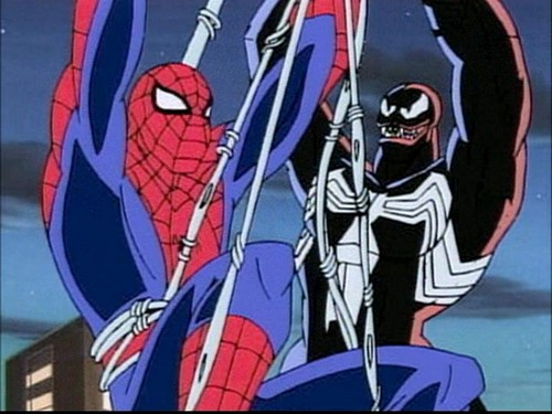 Spider-Man and Venom from the 1994 animated series