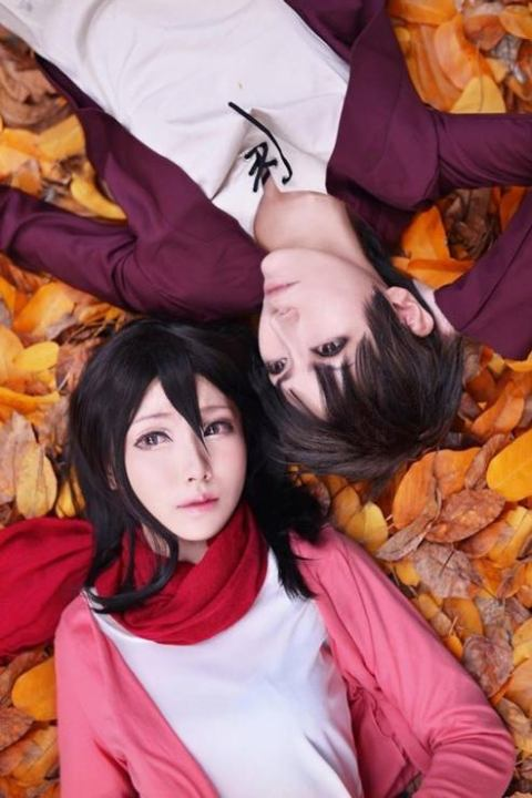 Young Eren and Mikasa (credits to cosplayers)