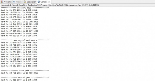 The result after running the samples for the nextDate() method.