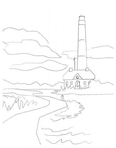 Long Island lighthouse coloring page poster