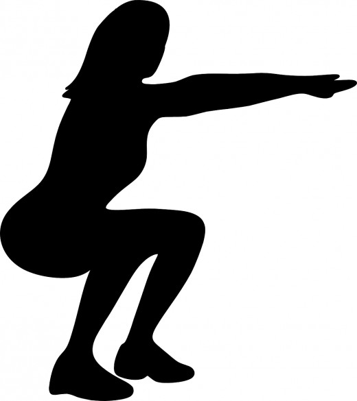 Woman's silhouette doing a squat with her own bodyweight.