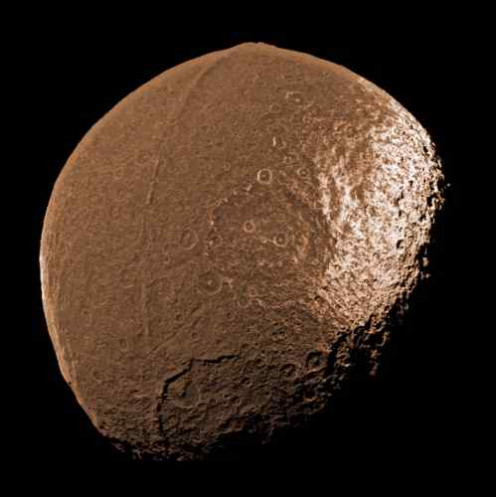 Notice the distinct equatorial ridge that gives Iapetus the characteristics of a seed.