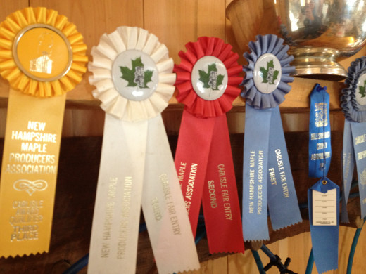 The many awards that Barbara and Don Lassonde won for their maple syrup.