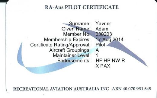 RA-Aus pilot card