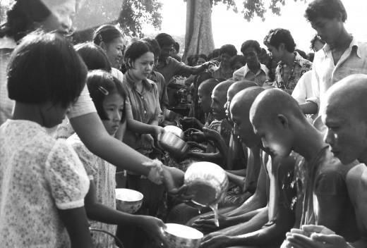 Feeding the monks, blessings all around
